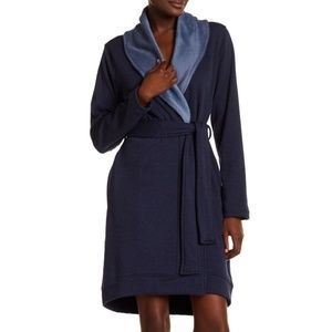 UGG Blanche Navy Heather Plush Shawl Collar Robe